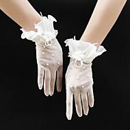 ตารางไขว้ ความยาวข้อมือ ถุงมือ สไตล์วินเทจ / โรแมนติก กับ ไข่มุกเทียม / ดอกไม้ / จับย่น