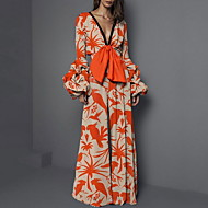 Pentru femei Portocaliu Salopete, Floral XL XXL XXXL