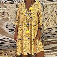 Žene A kroj Širok kroj Shift Haljina - Cvijetan Print Kragna košulje Midi / Praznik / Plaža / Ogroman