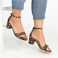 สำหรับผู้หญิง หนังเทียม ฤดูร้อน ไม่เป็นทางการ รองเท้าแตะ ส้นหนา เปิดนิ้ว สีเหลือง / แดง / เสือดาว