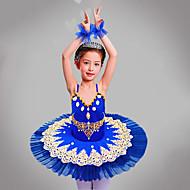 ชุดเต้นสำหรับเด็ก / ชุดเต้นบัลเล่ย์ Outfits / Tutus & Skirts เด็กผู้หญิง การฝึกอบรม / Performance เส้นใยสังเคราะห์ / ตารางไขว้ ของประดับด้วยลูกปัด / ลายปัก / ข้อต่อ เสื้อไม่มีแขน ชุดเดรส / สร้อยข้อมือ