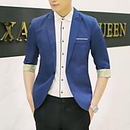 Men's Spring / Fall Blazer Notch Lapel Polyester Wine / Khaki / Light gray XL / XXL / XXXL / Slim