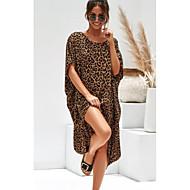 فستان نسائي كلاسيكي عصري غير متماثل طباعة جلد نمر