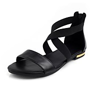 Women's PU(Polyurethane) Summer Minimalism Sandals Flat Heel Open Toe Black