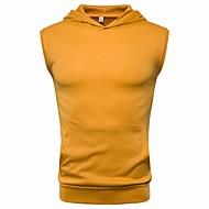 Pánské - Jednobarevné Tričko Bavlna Kapuce Šedá XL