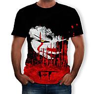 Homens Camiseta Estampado, Estampa Colorida / 3D / Tribal