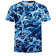 Heren Print T-shirt Geometrisch / 3D blauw XXXXL