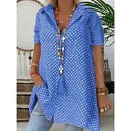 저렴한 -여성용 도트무늬 셔츠 카라 플러스 사이즈 프린트 - 셔츠 루비 XXXL / 여름
