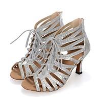 Mujer Zapatos de Baile Latino Sintéticos Tacones Alto Corte Tacón Carrete Personalizables Zapatos de baile Negro / Plata / Rojo