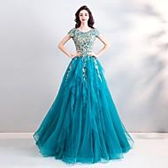 Linea-A Con decorazione gioiello Lungo Tulle Vestito con Perline / Lustrini / Con applique di LAN TING Express