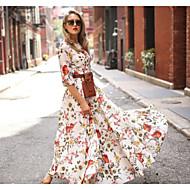 Women's Elegant Swing Dress - Floral White L XL XXL