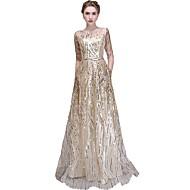 Linea-A Con decorazione gioiello Lungo Tulle Brillante e glitterato Serata formale Vestito con Lustrini di LAN TING Express