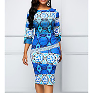 cheap -Women's Plus Size Basic Sheath Dress - Geometric Blue XXXL XXXXL XXXXXL