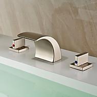 Robinet lavabo - Jet pluie / Séparé Nickel brossé Diffusion large Deux poignées trois trousBath Taps