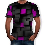 Tee-shirt Homme, Bloc de Couleur / 3D / Graphique Imprimé Col Arrondi Noir XL