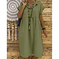Damen Grundlegend Etuikleid Kleid - Quaste, Solide Midi