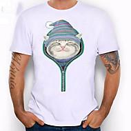 Heren Grote maten - T-shirt dier / Cartoon Ronde hals Slank Wit XXL