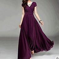 فستان نسائي متموج طويل للأرض نحيل V رقبة