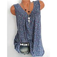 저렴한 -여성용 플로럴 V 넥 플러스 사이즈 프린트 - 셔츠 블러슁 핑크 XXXL