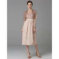 cheap -A-Line Scoop Neck Tea Length Chiffon / Lace Mother of the Bride Dress with Lace / Pleats by LAN TING BRIDE® / Wrap Included