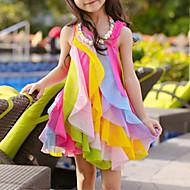 Kids Toddler Girls' Sweet Cute Rainbow Patchwork Layered Mesh Patchwork Sleeveless Asymmetrical Polyester Dress Fuchsia