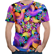 Homens Tamanhos Grandes Camiseta Floral / Arco-Íris Decote Redondo Roxo XL