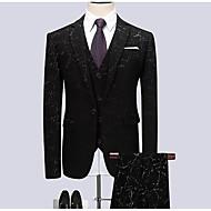 Muškarci Veći konfekcijski brojevi odijela, Geometrijski oblici Kragna košulje Poliester Crn XXXXL / XXXXXL / XXXXXXL / Slim