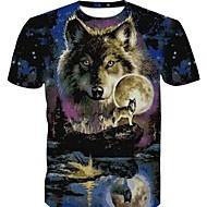 Homens Tamanhos Grandes Camiseta 3D / Gráfico / Animal Algodão Decote Redondo Delgado Arco-íris XXL