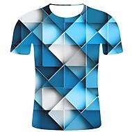 Heren Print T-shirt Geometrisch / 3D / Grafisch Licht Blauw XXL