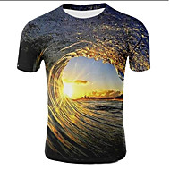 economico -T-shirt - Taglie forti Per uomo Con stampe, Cielo stellato / 3D Rotonda Marrone chiaro
