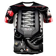 저렴한 -남성용 3D 라운드 넥 플러스 사이즈 티셔츠 블랙 XXL