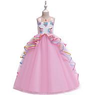Kids Girls' Vintage Sweet Color Block Layered Patchwork Sleeveless Maxi Dress Blushing Pink