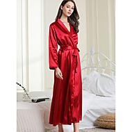 Női Sexy Köpenyek / Szatén és selyem Hálóruha - Hosszú Egyszínű Fekete Rubin L XL XXL
