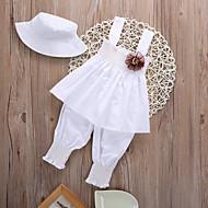 Baby Girls' Active / Basic Solid Colored Sleeveless Short Cotton Clothing Set White / Toddler