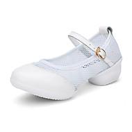 نسائي بوط رقص جلد / شبكة سينكرز كعب سميك مخصص أحذية الرقص أبيض / أسود / أحمر