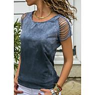 ราคาถูก -สำหรับผู้หญิง ขนาดพิเศษ เสื้อเชิร์ต สีพื้น ทับทิม XXXL