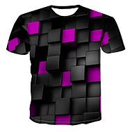 저렴한 -남성용 3D 라운드 넥 프린트 - 티셔츠 그린 XXXXL