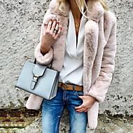 billige -Dame Daglig Grunnleggende Høst vinter Store størrelser Normal Faux Fur Coat, Ensfarget Skjortekrage Langermet Fuskepels Lyseblå / Hvit / Rosa