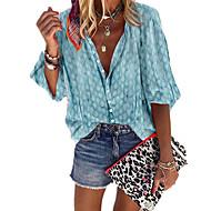 Women's Casual Plus Size Boho Plus Size Shirt - Polka Dot Patchwork / Print Shirt Collar Gray