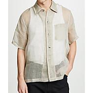 Herre - Ensfarvet Hør Basale Plusstørrelser Skjorte Beige