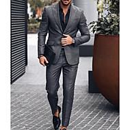 povoljno -Muškarci odijela, Jednobojni Klasični rever Poliester Crn US36 / UK36 / EU44 / US38 / UK38 / EU46 / US40 / UK40 / EU48