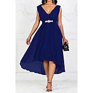 Women's Party Casual Maxi A Line Dress - Solid Colored V Neck Purple Red Navy Blue S M L XL
