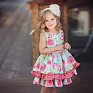 billige -Barn Jente søt stil Blomstret Ermeløs Knelang Kjole Rosa