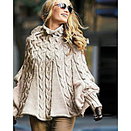 Women's Solid Colored Long Sleeve Pullover, Turtleneck Khaki S / M / L