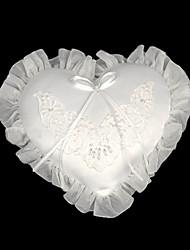 branco mini-coração de cetim casamento travesseiro portador do anel