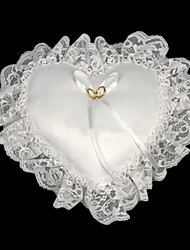 Heart Shaped Wedding Ring Pillow In White With Lace Lined