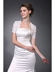 cheap -Short Sleeves  Tulle  Lace Bridal Jacket / Wedding Wrap Elegant Style