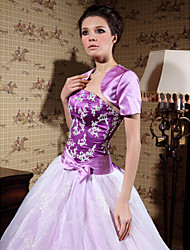 cheap -Short Sleeves Satin Party Evening Wedding  Wraps Shrugs