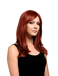 cheap -Capless Long High Quality Synthetic Natural Look Red Wine Straight Hair Wig