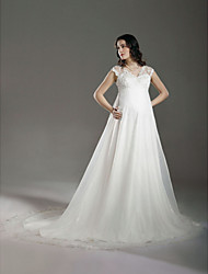 cheap -A-Line Princess V Neck Court Train Lace Organza Custom Wedding Dresses with Beading Lace by LAN TING BRIDE®